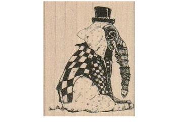 Elephant headSitting Elephant    Steampunk Rubber Stamp wood mounted designed by Mary Vogel Lozinak no 19157