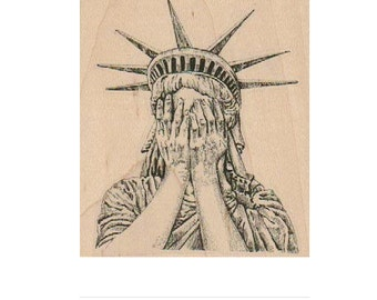 Weeping Statue of Liberty  rubber stamp who post apocalypse zombie  19152 stamping supplies whovian