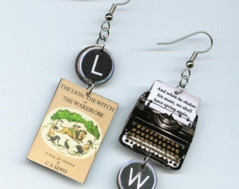 Book Cover Earrings - The Lion The Witch and the Wardrobe -Typewriter key jewelry - C.S. Lewis quote - reader's literary gift