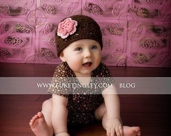 Newborn Hat, Crochet Baby Hat, Toddler Hat, Baby Hat, Baby Girl Hat, Newborn Photo Prop, Brown Pink, Baby Newborn Hat, Newborn Baby Hat