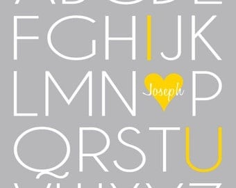 Grey and Yellow Nursery Wall Art, Baby Room Decor, ABC Artwork, Wall Decor, Nursery Alphabet Art Typography Print with Name, 8x10