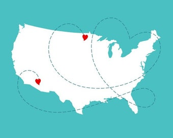 Personalized Map Print - USA Map With Hearts - 8x10 Artwork for Long Distance Relationships Gift -  Wall Art