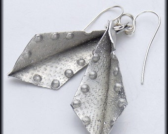 SERENGETI - Handforged Foldformed Dimpled Pewter and Sterling Earrings