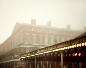 Cafe du Monde - New Orleans Photography, Fog, Coffee, Brown, Travel Photography, Autumn Colors, French Quarter Art