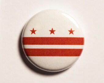 "1"" Washington DC flag button - District of Columbia, city, pin, badge, pinback"
