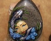 Snakes and Butterflies in the Grass Goddess Face BEAD Gray Jasper & Polymer Clay face BEAD