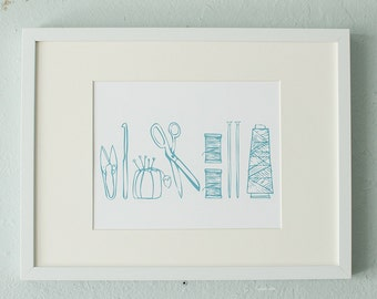Crafty tools screen print - turquoise - gift for knitter, sewist, designer, fiber artist