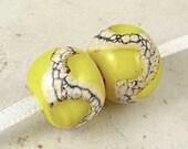 Handmade Glass Bead Lampwork Pair 14x11mm Lemon Drops