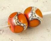 Tangerine Orange Handmade Lampwork Glass Bead Pair 14x11mm Orange