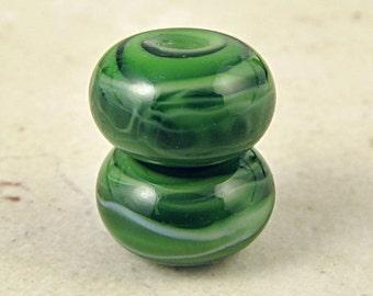 Handmade Glass Lampwork Bead Pair Mint Olive Green Small 11x7mm Spearmint