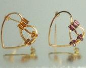 Two  Heart Brooch Amethyst & Amber Rhinestone Pins Vintage