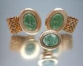Vintage Mesh Jade Cufflinks Cuff Links Tie Clasp Unused