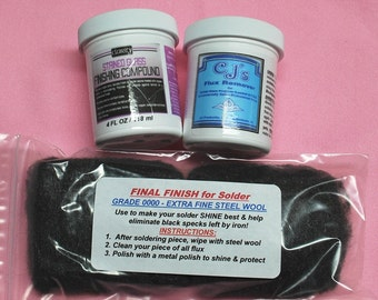 3 piece Combo. Silver Solder Finish KIT - 4 oz Clarity Metal Polish, Cleaner Super Fine Steel Wool and 4 oz. CJ's Flux Remover