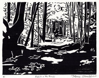 A Walk In The Woods original hand printed woodcut print