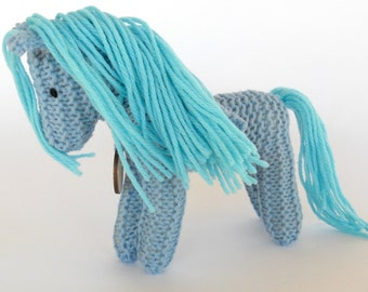 Waldorf Toy, Stuffed Animal Horse, Eco Kids Toy, HandKnit, All Natural Childrens Toy, Turquoise Earth Pony, Pegasus - Jewel