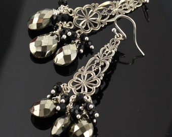 Pyrite Black Garnet Sterlig Silver  Chandelier Earrings