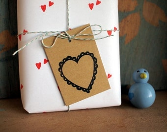 5 gift tags - Heart - 100% Recycling paper