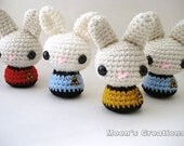 Star Trek Moon Buns - Amigurumi Star Trek inspired Bunny Rabbits with Keychain or Ornament Options