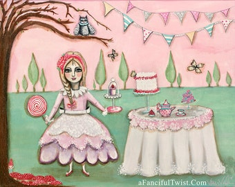 """Tea Party in the Magical Cypress Grove - Large Size 11"""" x 14"""""""
