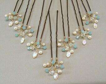Custom Wedding Hair Accessories, Swarovski Pacific Opal Crystal, Handwired Bridal Hair Pins, Mint Aqua Wedding Hair Pins