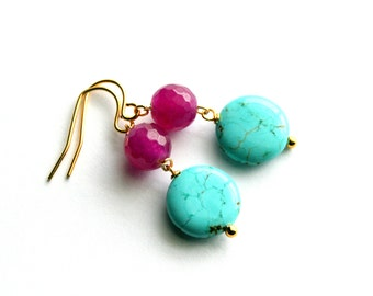 Gold Jade Earrings, Howlite Earrings, Purple, Turquoise Blue Earrings