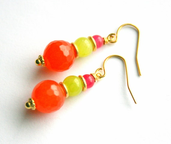 Stacked Jade Earrings, Bright Orange Summer Dangles, Gold Vermeil, Lime Green Pink, Neon Candy Colored Gemstones
