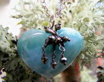 Larimar Heart, sterling silver bail, cluster Pyrite, sterling silver chain necklace