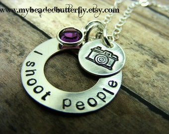 Camera-photographer-necklace-hand stamped-I shoot people-personalized necklace