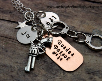 Border patrol-necklace-handstamped-personalized-police officer-handcuffs-pistol