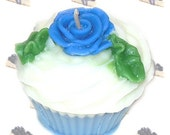 Blueberry Cheesecake Cupcake Candle Bakery Scent Blue Rose Decoration
