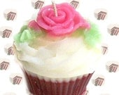 Red Velvet Cake Cupcake Candle Bakery Scent Pink Rose Decoration