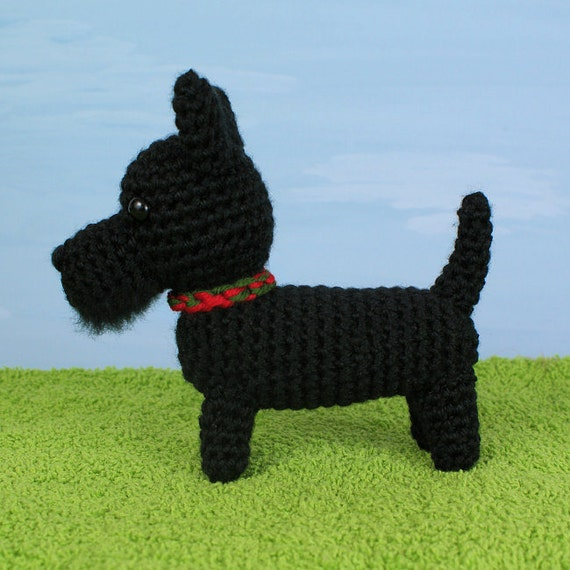 Amigurumi Scottie Dog Pattern : PDF AmiDogs Scottish Terrier (Scottie Dog) amigurumi dog ...