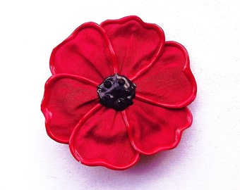 Flanders poppy brooch - large