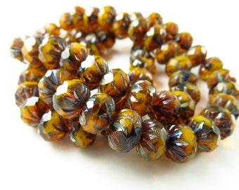 9mm x 6mm Czech Glass Opal Orange Mix Crullers - 10 Beads - LCCMIS088