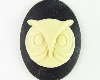 40mm x 30mm Large Acrylic Vintage Style Owl Cameo - 2 Pcs - LCCMT333IVBK