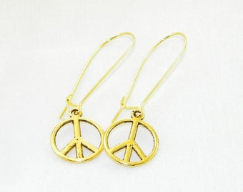 Gold peace charm dangle earrings, Peace symbol earrings, No war, World peace earrings, Freedom, Wedding, Gift for her, Whimsical jewelry