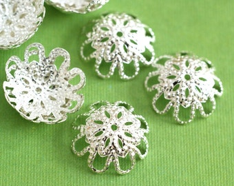 Sale 100pcs 12mm Silver Finish Filigree Caps A016-S