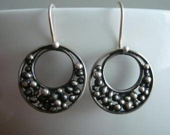 Silver Bead Dangle Earrings
