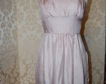 asymmetric dress in Pink crinkle satin