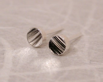 Faux Bois Stud Earrings 3mm Tiny Sterling Silver Studs by SARANTOS