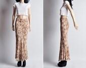 NORMA KAMALI silk chiffon fishtail floral maxi skirt / s