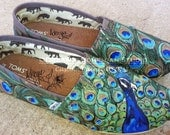 Custom Painted Peacock on your TOMS this is the DESIGN FEE only toms not included