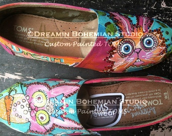 Custom Painted Toms, Slip ons painted, Pop Art Rabbits, Custom Toms, Colorful Dream Bunnies, Rainbow Toms, Painted Shoes, Custom Bling Shoes