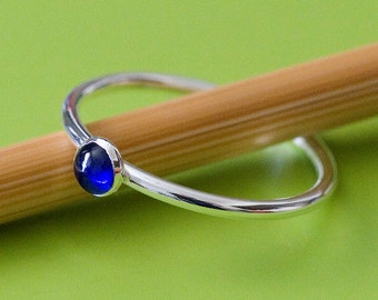 Blue Sapphire Stacking Ring • Sterling Silver Gemstone • Size 2 to 15 • Stacker • September Birthstone