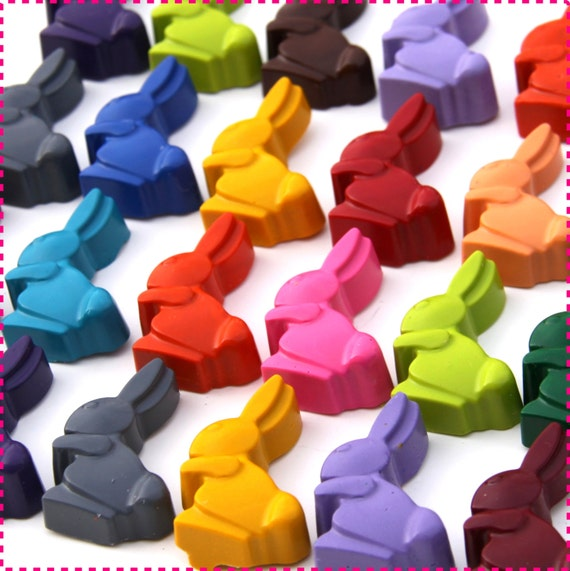 BUNNY RABBIT CRAYONS, Birthday Party Favors Pack of 20 Bunnies Peeps, Eco-Friendly Toys Favors Asst. Colors, For Boys and Girls