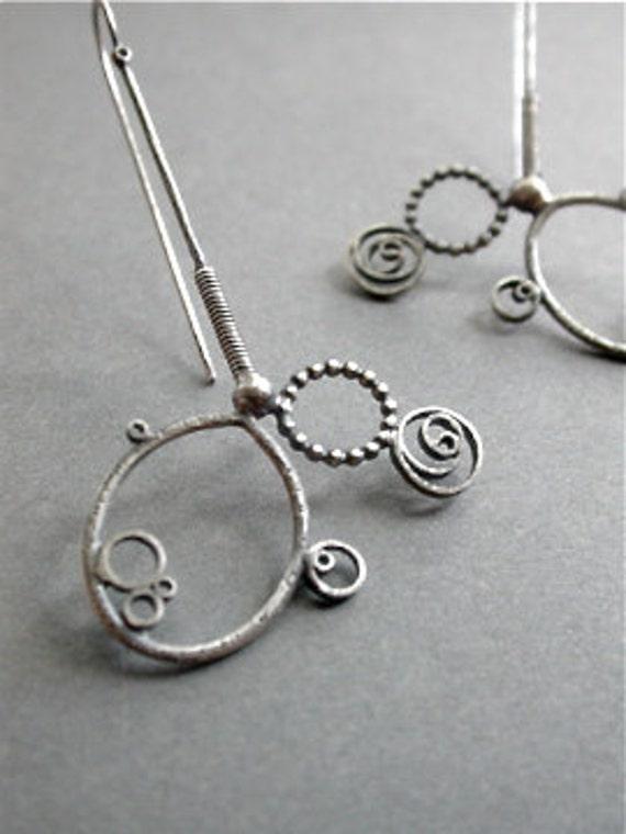asymmetry earrings simple sterling silver long dangle hip funky metalwork metalsmith modern edgy statement jewelry