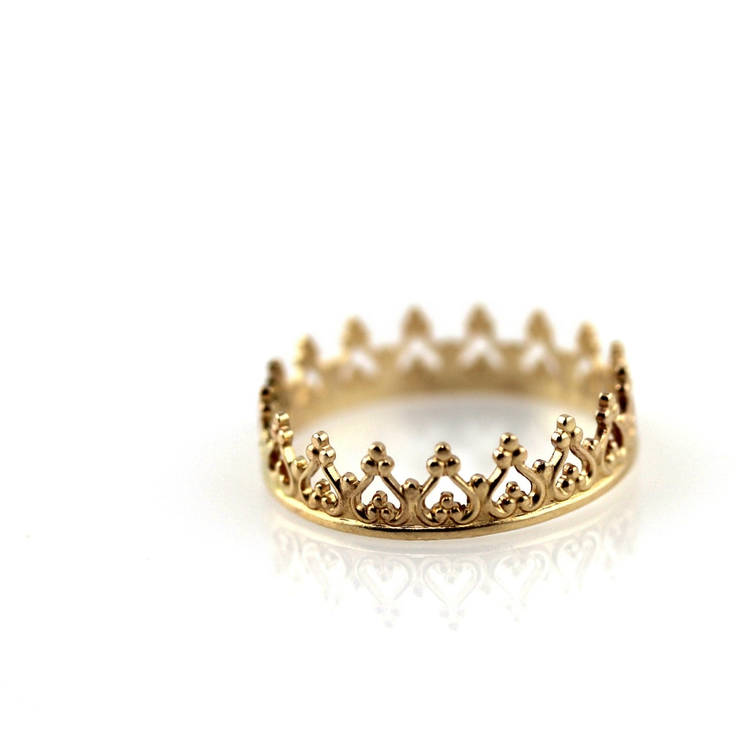 crown ring solid 14k yellow gold ring