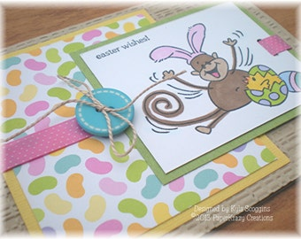 Easter Wishes Stamped Greeting Card, Funny Easter Cards, Monkeys