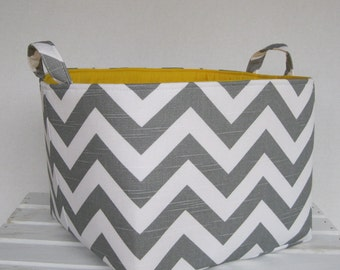 Fabric Organizer Bin Toy Storage Organization Container Basket - Gray/ White Chevron ZigZag Zig Zag Fabric - 10 in x 10 in x 10 in tall