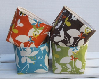 Mini Size Fabric Storage Container Organizer Bins - Set / 4 - Moda Chrysalis Sanae - Orange - Brown - Blue - Green Fall Autumn Decor